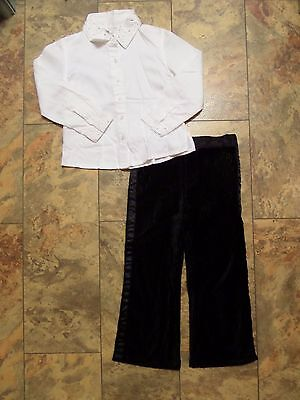 EXQUISITE Girl's DESIGNER Outfit Age 4 Shirt & Pinstripe Velvet Trousers From US