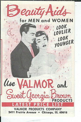 AV-011 - Valmor Sweet Georgia Brown Beauty Products Brochure 1960's to 1970's Vi
