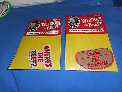 2 Vintage 1984 Wendy's Advertising WHERES THE BEEF Cloth Patches NEW in package