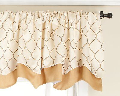 """Stylemaster Bleecker 54"""" x 17"""" Embroidered Layered Valance Gold Tan  Truffle"""