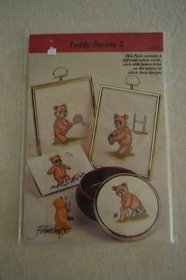 Counted Cross Stitch Embroidery Patterns: Teddy Sports 2 FREEPOST IN AUSTRALIA