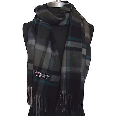 New 100% Cashmere Scarf Gray/blue/Black check Plaid Wool Soft Unisex (#Cm08)mr
