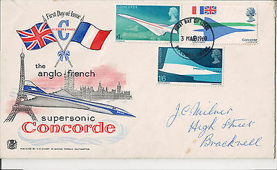 3 Concorde Stamps on First Day of Issue (3 March 1969) commemorative envelope