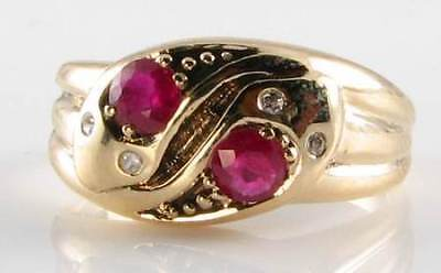 Divine 9Ct Gold Victorian Ins Ruby & Diamond Snake Ring