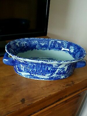 Flow Blue Victoria Ware Ironstone Oval High Sided Dish