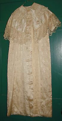 Antique Baby Christening Robe, Gown, With Lace and Embroidery