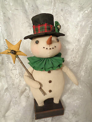 Handmade Primitive Folk Art Standing Snowman Doll With Star