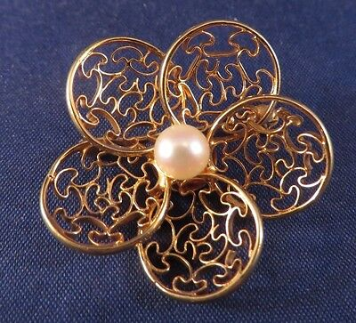 14K Yellow Gold Pearl Flower Pin Brooch - Signed w/ Arrow & CA - 5.7 Grams