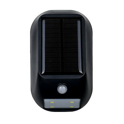 LED Solar Powered Motion Sensor Light Rechargeable Security Wall Lights Black