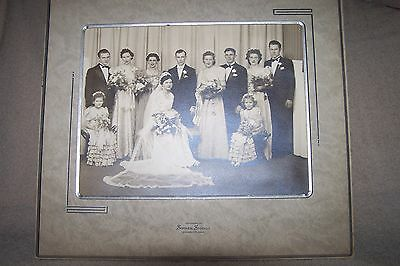 Vintage Antique Wedding Party 8X10 Photo In Holder