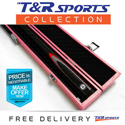 Black Full Length 2-Piece Pool Snooker Billiard Graphite Cue With Pink Case AU