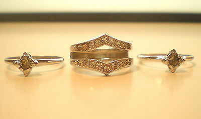 Sterling Silver and Rhinestone Wedding Ring Set Size 8