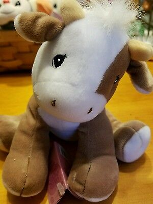 Precious Moments Brown & White Cow Tender Tails Plush Hang Tag Attached 475890