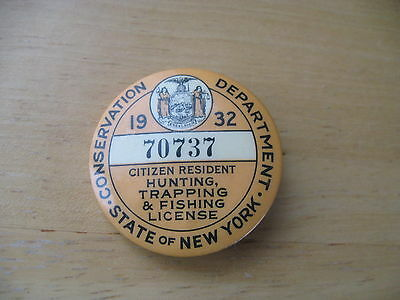1932  New York Hunting, Trapping and Fishing License