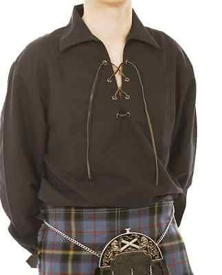 """sale Offer"" 4Xl Black Deluxe Scottish Jacobean Laced Ghillie Shirt 4 Kilt Sale"