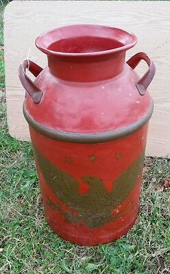 "Vintage Dairy Milk Can Metal Red with Gold Eagle 24"" tall"