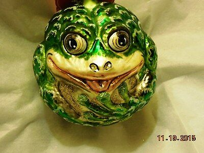 "FROG ANIBALL 4"" NIB Round Sculpted Body SLAVIC TREASURES Blown Glass Ornament"