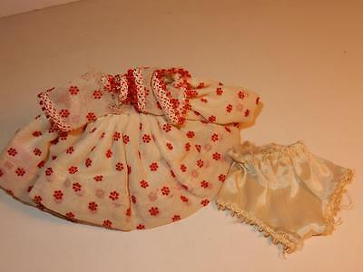 Vintage 1950S Tagged Ginger Cosmopolitan Red Flock Dress & Panties Or For Ginny