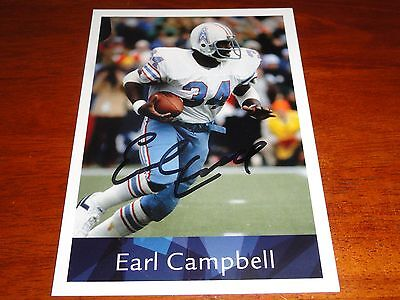 Earl Campbell Autographed 5x7 Player Card Houston Oilers HOF