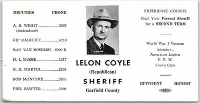 Garfield County Oklahoma Ink Blotter Political Campaign LELON COYLE for Sheriff