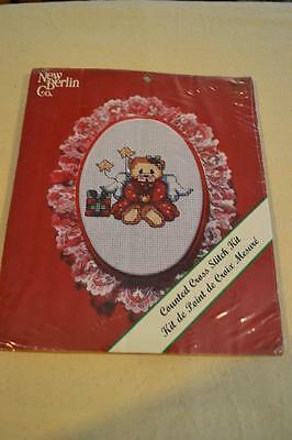 Counted Cross Stitch Embroidery Kit: Lace Xmas Ornament - Teddy FREEPOST IN AUST
