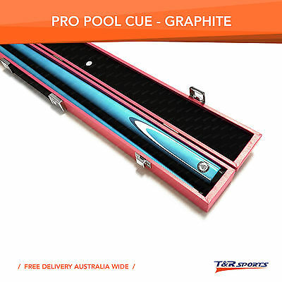 Blue Full Length 2-Piece Pool Snooker Billiard Graphite Cue With Pink Case AU