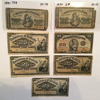 Canada bank notes Dominion of Canada 25 cents 1870 (2), 1900 (4), 1923 (1)