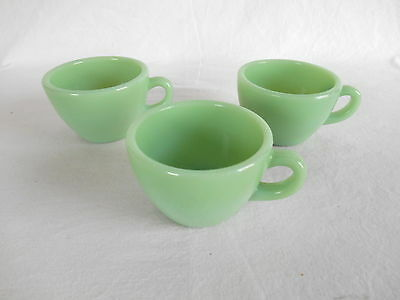 3 FIRE KING JADITE THICK  RESTAURANT WARE COFFEE CUPS Jade-ite