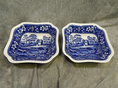 """2 Copeland Spode's Tower Serving Bowls 9.25"""" square~ Glossy~Oval Mark"""