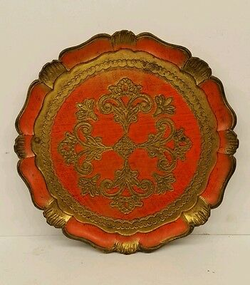 """11 3/4"""" Florentia hand made decorative tray Italy Florentine Wood vintage charge"""