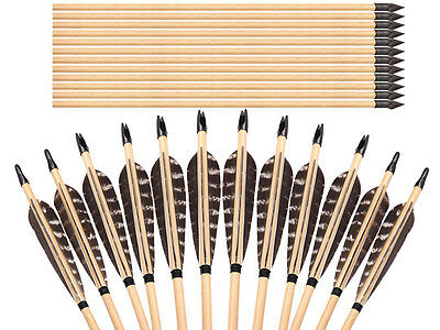 12PK Pure Handmade Wooden Arrows Eagle Parabolic  Feathers For Longbow