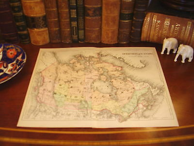 Fine Original 1892 Antique Johnson Engraved Map DOMINION CANADA Intricate Detail