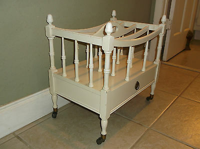 """Antique Canterbury Style Vintage """"shabby Chic""""  Magazine Stand On Casters"""