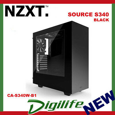 NZXT SOURCE S340 compact ATX Mid-Tower case with all-steel panels BLACK No PSU