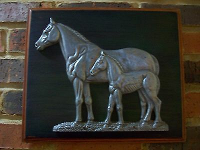 Horse & Foal Solid Heavy Stallion Pewter w/Wood Frame Backing Handmade Wall Art
