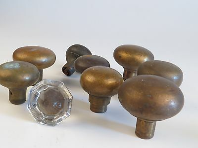 Lot of 9 Antique Brass (1 glass) Door Knob Handle Hardware Drawer Pull Old Tool