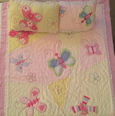 POTTERY BARN KIDS Pastel Butterfly Toddler Quilt And Throw Pillow - EUC