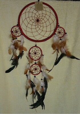 Native American Dreamcatcher Medium Size Red With Red Webbing