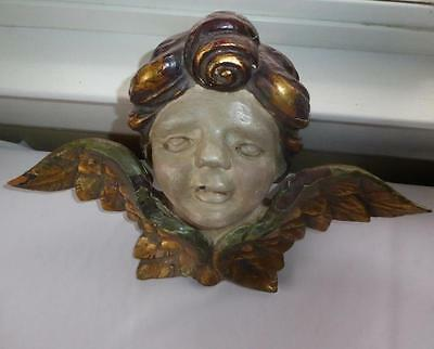 """Vintage Large Hand Carved Wood Winged Putti 16 1/2"""" Long"""