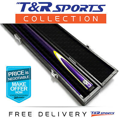 Purple Full Length 2-Piece Pool Snooker Billiard Graphite Cue With Black Case AU