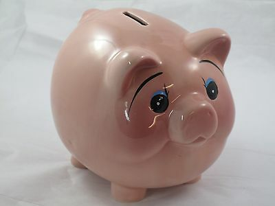 Happy Vintage PIGGY Bank Pink Ceramic Gift! ~ Excellent Condition! Stopper!