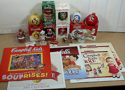 Mixed Lot Campbell's Soup Kids, 11 Christmas Ornaments or Figurines, 5 Calendars