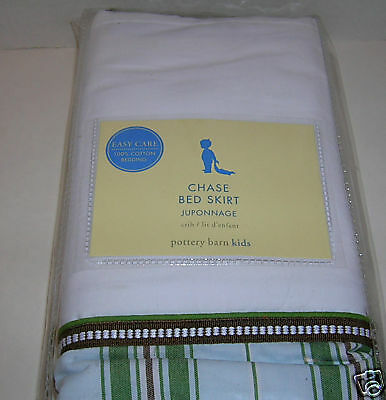 Pottery Barn Kids Chase Stripes Baby Toddler Crib Bed Skirt Dust Ruffle New