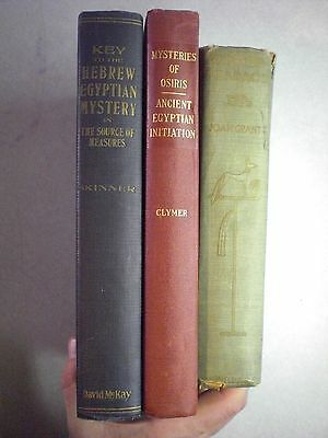 Lot of 3 Egyptian Kabbala Initiation Osiris Pharaoh Hebrew Occult Pyramid Books