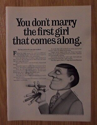 1967 Print Ad Cigar Institute of America ~ You Don't Marry the First Girl ART