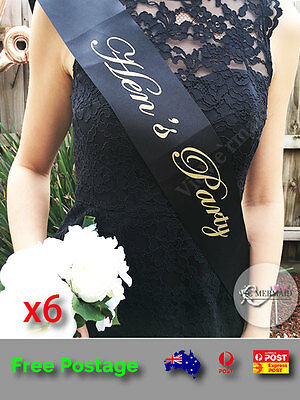 6x Black Sashes Gold Text Hen's Party Set Hens Night Party Bridal Bachelorette
