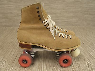 Vintage Riedell Red Wing Beige Roller Skates Men's Size US 10 Lace Up Red Wheels