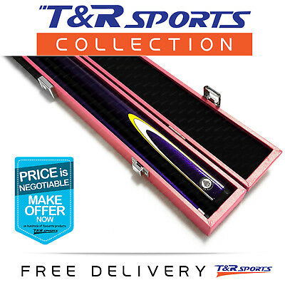 Purple Full Length 2-Piece Pool Snooker Billiard Graphite Cue With Pink Case AU