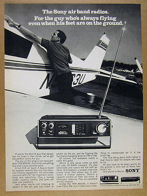 1971 Sony TFM-8600W & TR-8460 Airband Radios airplane photo vintage print Ad