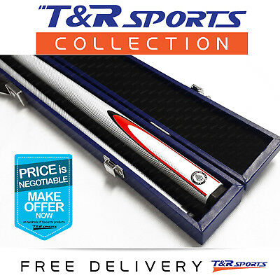White Full Length 2-Piece Pool Snooker Billiard Graphite Cue With Blue Case AU